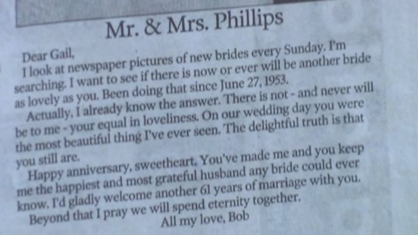 61 Years On From Their Wedding Day A Husband Wrote One Of The Most