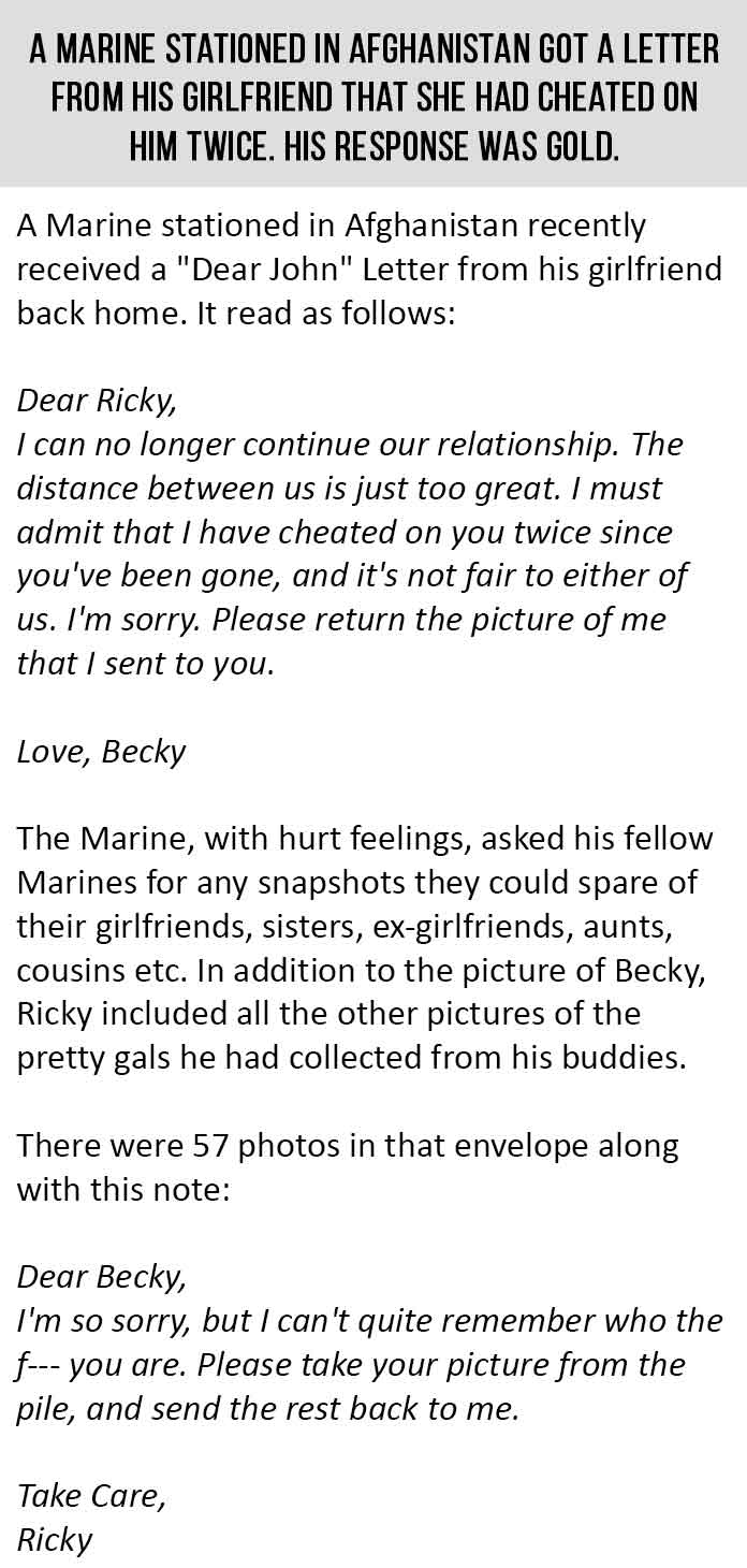 A Marine Got This Breakup Letter From His Girlfriend His Response