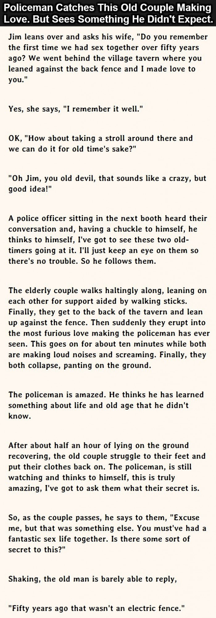Policeman Catches Old Couple Making Love. But He Didn't Expect This.