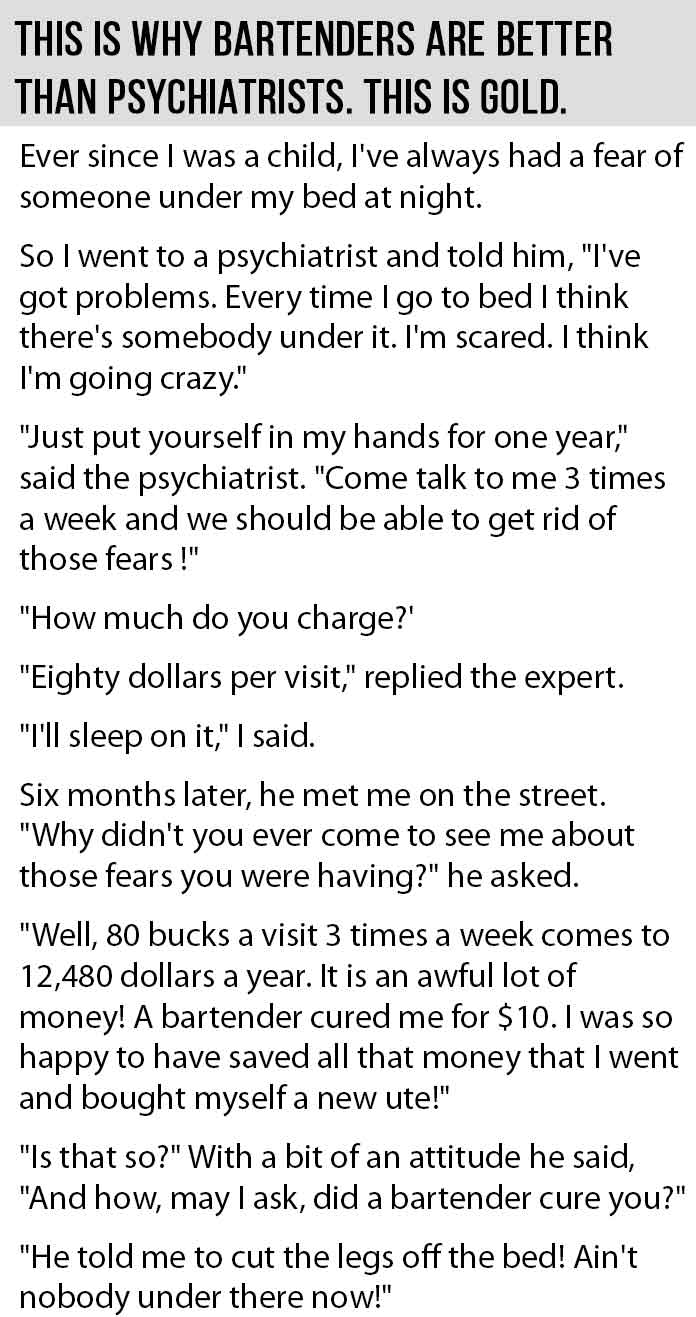 Psychiatrists Vs Bartenders This Is Priceless