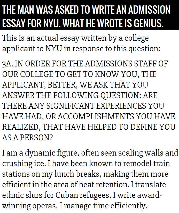 Application essay writing nyu