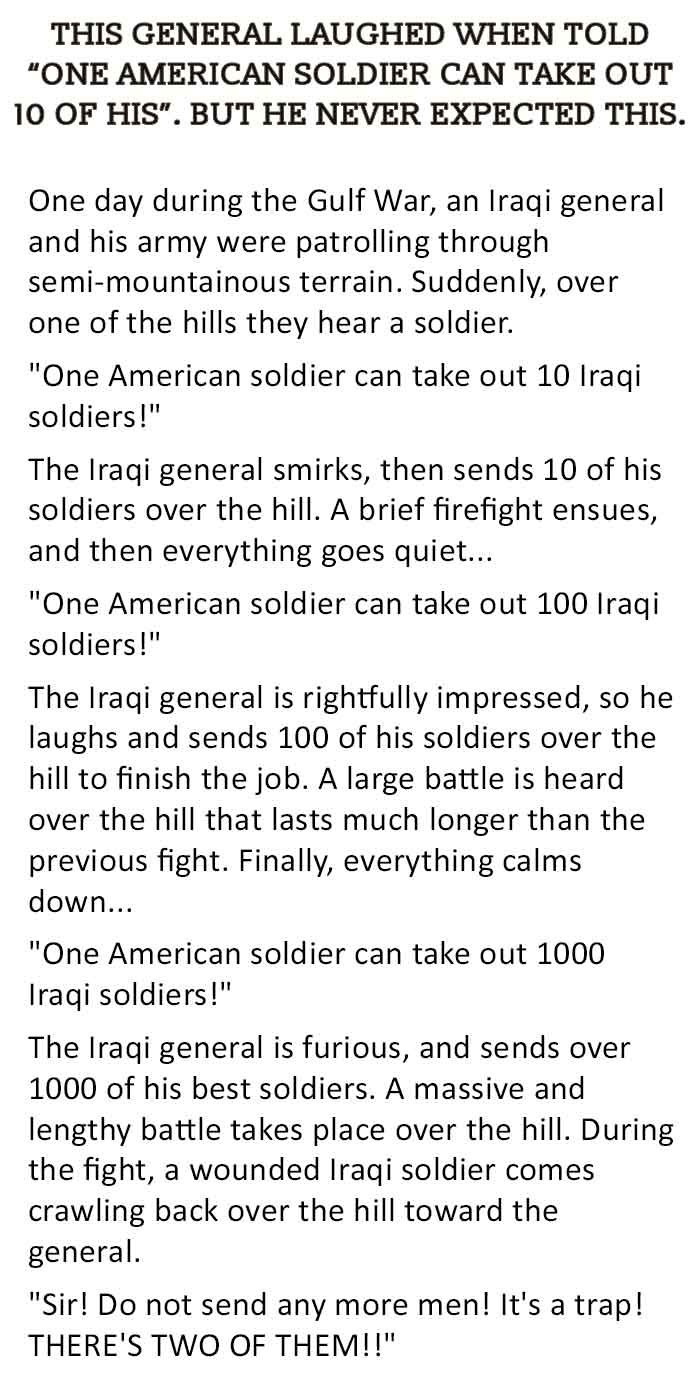 Do not underestimate the American soldiers