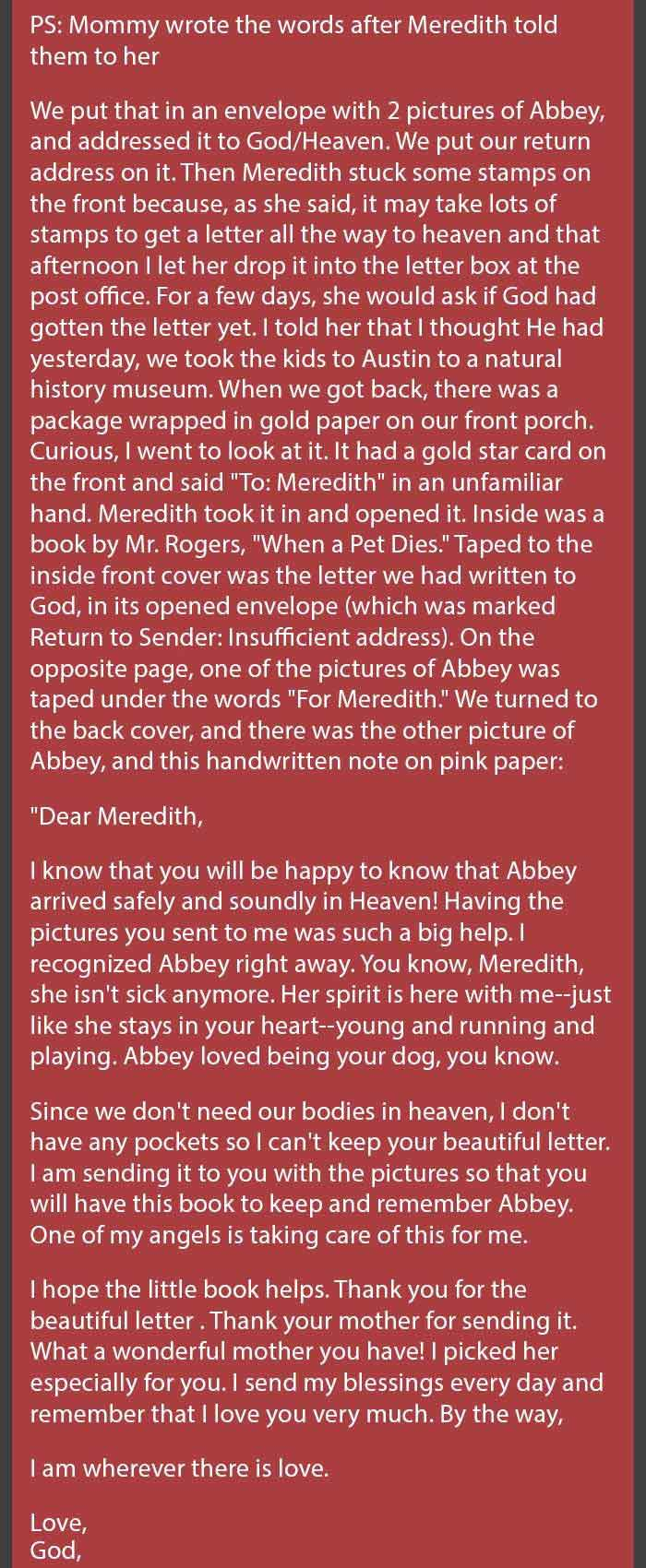 This Little GirlS Dog Passed Away So She Decided To Write This