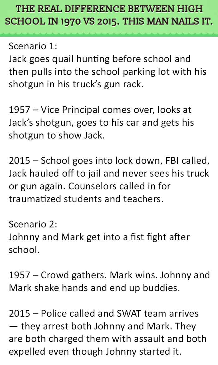 the real difference between high school in vs this man the real difference between high school in 1970 vs 2015 this man nails it