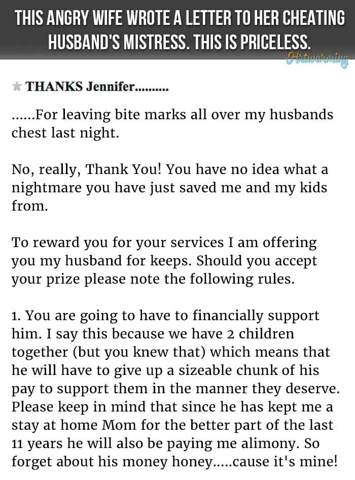 Angry Wife Writes Best Letter Ever To Cheating Husband's Mistress
