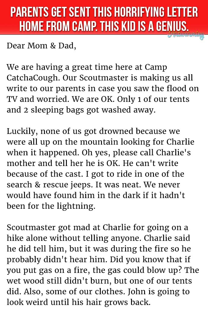 Parents Get Sent This Horrifying Letter Home From Camp. This Kid