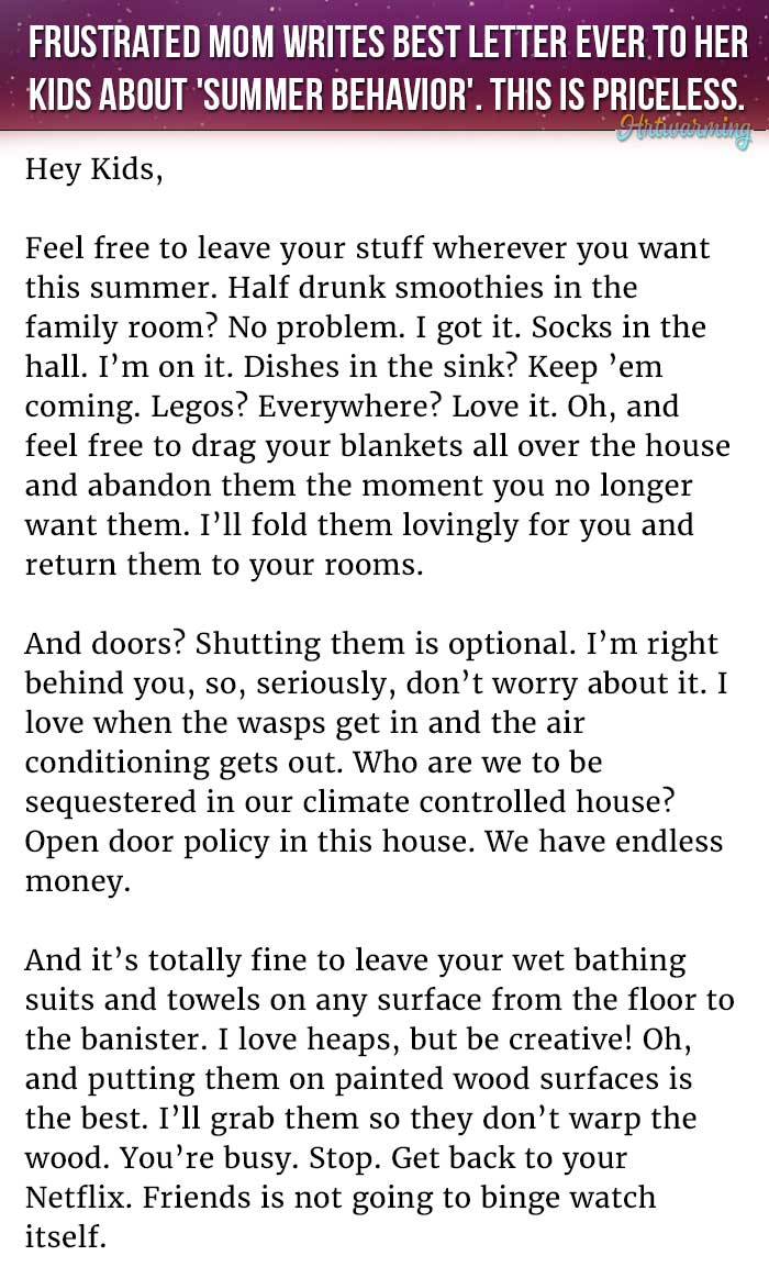Frustrated mom writes best letter ever to her kids about summer frustrated mom writes best letter ever to her kids about summer behavior this is priceless hexwebz Gallery