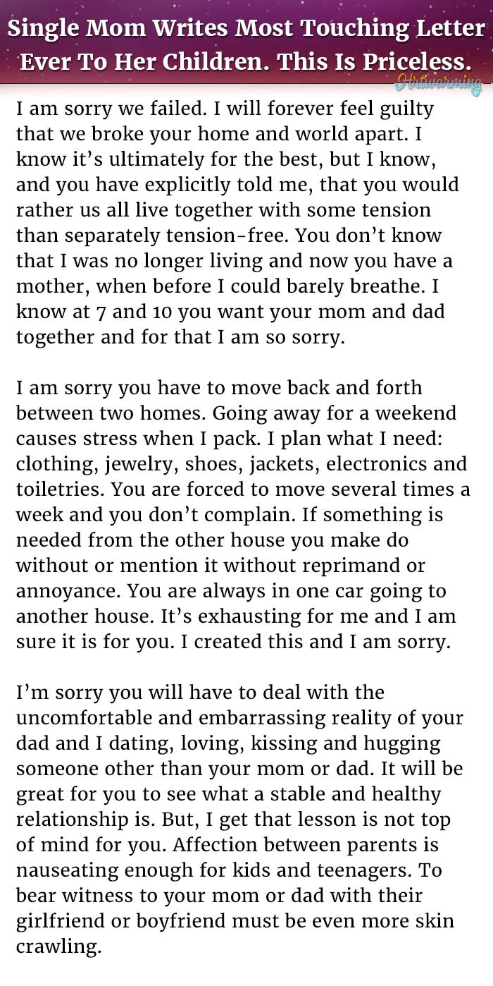 Single Mom Writes Most Touching Letter Ever To Her Children This
