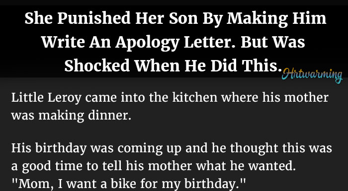 Mom Punishes Son By Making Him Write An Apology Letter