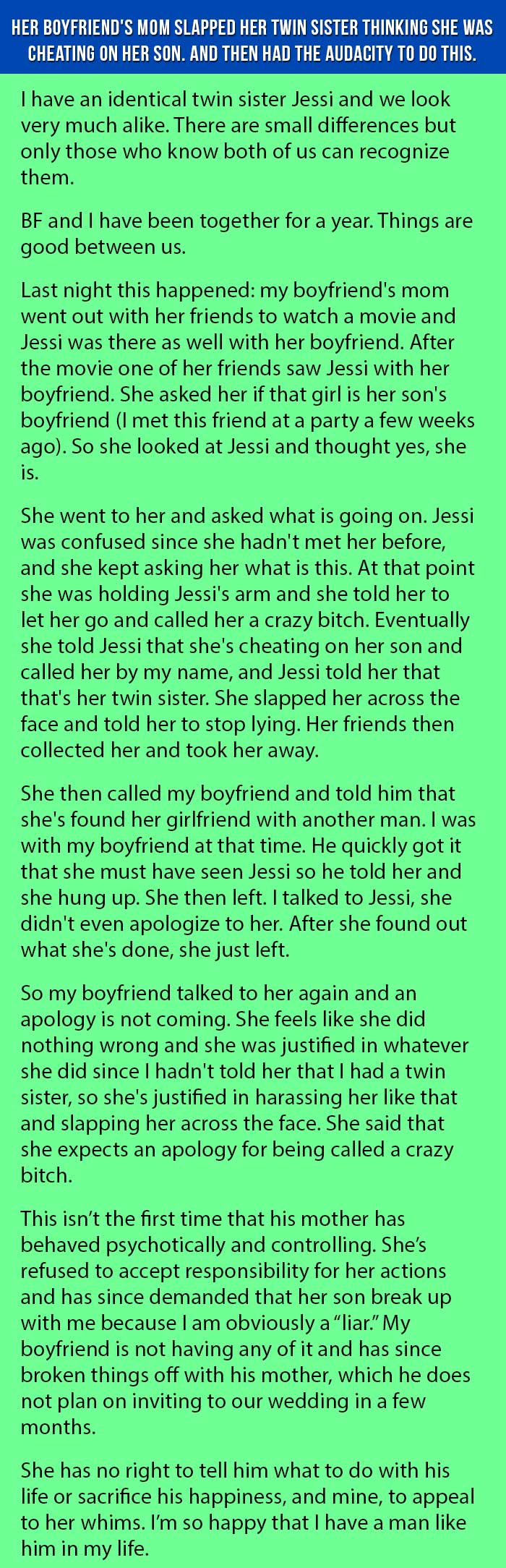 Her Boyfriend's Mom Slapped Her Twin Sister Thinking She Was Cheating On  Her Son And Then