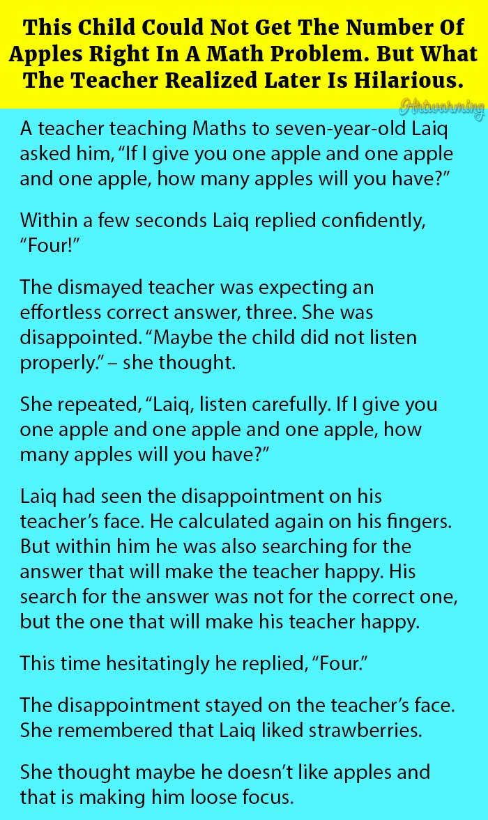 This Child Could Not Get The Number Of Apples Right In A Math ...